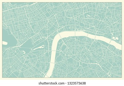 Modern London Map in Vintage Style