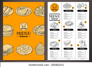 Modern looking vector template for a Folded Restaurant Menu with lots of nice vintage food illustrations