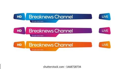 Modern lower third tv channel idea, vector design template graphics, dynamic shape of design.