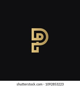 Modern luxurious creative geometric pattern P PP business brands black and golden color initial based letter icon logo.