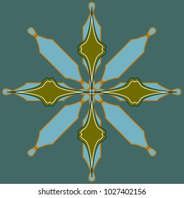 Modern luxurious symmetrical oriental pattern ,green and blue colored, isolated on square shaped green background