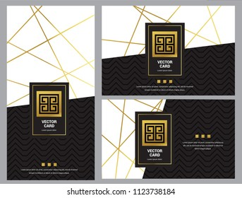 Modern Luxury Abstract Lines, Business Folder, Cover, Bifold, Brochure, Card template collection