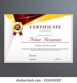 Modern and luxury certificate border template with red and gold badge color. Multipurpose certificate border template