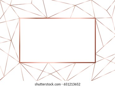 Modern luxury copper polygonal background with bronze triangles, geometric shapes and crystalls.