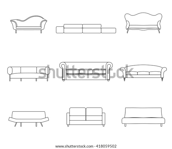 Modern Luxury Flat Sofas Couches Furniture Stock Vector ...