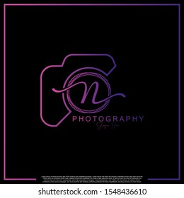 Modern Luxury Initial Letter N with camera. Logo photography simple luxury template.