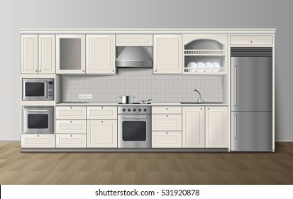 Modern luxury kitchen white cabinets with built-in cooker and refrigerator realistic side view image vector illustration