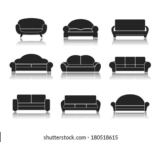 Modern luxury sofas and couches furniture icons set for living room vector illustration