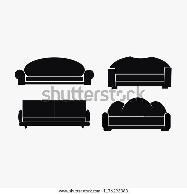 Modern Luxury Sofas Couches Furniture Icons Stock Image ...