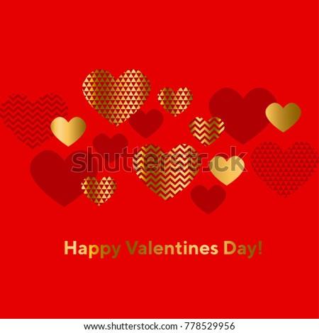 Modern Luxury Valentines Day Abstract Illustrationgeometric Stock