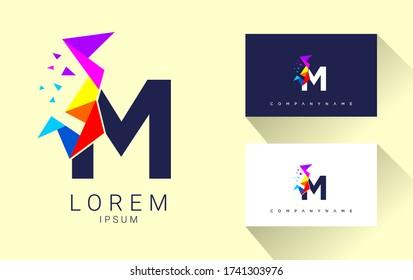 Modern M Letter Multimedia company logo. creative emblem Pixel design. initial brand template.