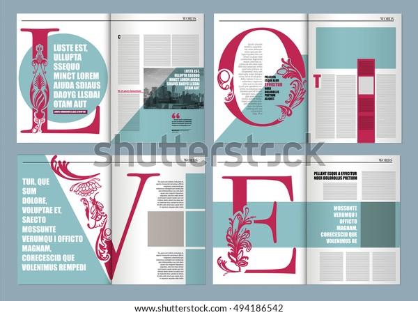 Modern Magazine Layout Template De Word Stock Vector
