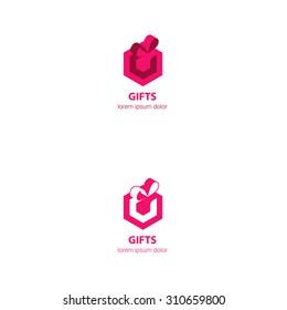 Modern Magenta Gift company logo design ribbon g letter