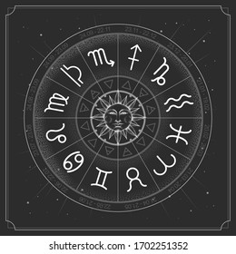Modern magic witchcraft Astrology wheel with zodiac signs on space background. Realistic illustration of  zodiac signs. Horoscope vector illustration