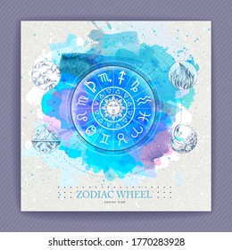 Modern magic witchcraft Astrology wheel with zodiac signs on watercolor background. Horoscope vector illustration