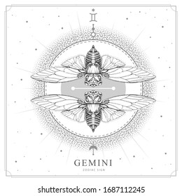 Modern magic witchcraft card with astrology Gemini zodiac sign. Realistic hand drawing butterfly or cicada illustration