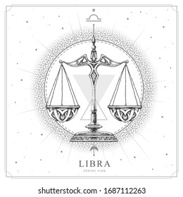 Modern magic witchcraft card with astrology Libra zodiac sign. Realistic hand drawing scales illustration
