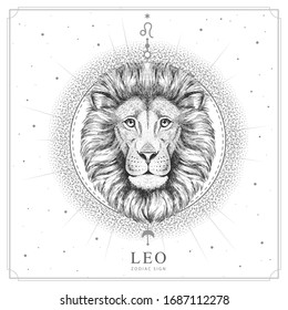 Modern magic witchcraft card with astrology Leo zodiac sign. Realistic hand drawing lion head