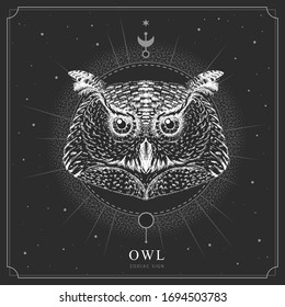 Modern magic witchcraft card with astrology Owl zodiac sign. Realistic hand drawing owl head