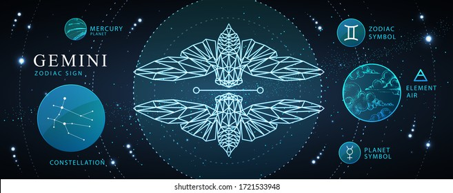 Modern magic witchcraft card with astrology Gemini zodiac sign. Polygonal butterfly or cicada illustration. Zodiac characteristic