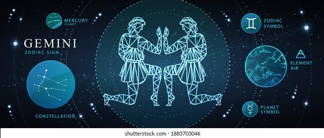 Modern magic witchcraft card with astrology Gemini zodiac sign. Polygonal men figure illustration. Zodiac characteristic