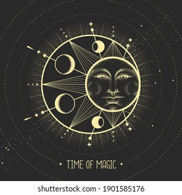 Modern magic witchcraft card with astrology sun and moon sign with human face. Day and nignt.