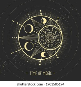 Modern magic witchcraft card with astrology sun and moon sign with human face. Day and nignt. Astrology wheel with zodiac signs. Horoscope vector illustration