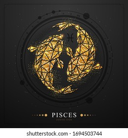 Modern magic witchcraft card with golden astrology Pisces zodiac sign. Golden Koi fish illustration in polygonal style on black background