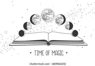 Modern magic witchcraft card with moon phases and open magic book. Pagan moon symbol. Vector illustration