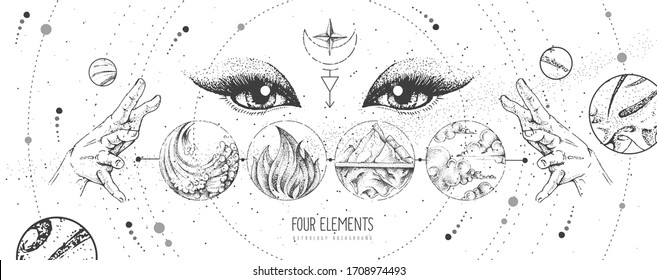 Modern magic witchcraft card with solar system, four elements and fortune teller eyes. Hand drawing occult vector illustration of water, earth, fire, air
