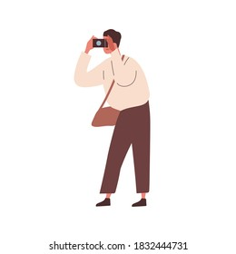 Modern man photographing. Male photographer taking picture. Tourist hold camera. Young reporter taking photo. Flat vector cartoon illustration isolated on white
