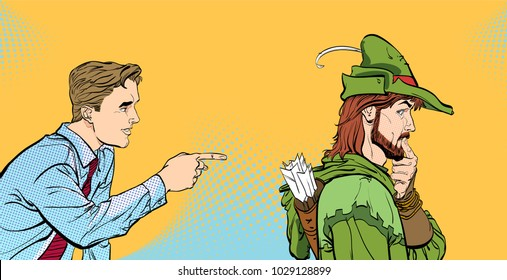 Modern man and Robin Hood. Businessman and medieval legends. A man's dialog. Men discussing something. Speaking men. Young businessman giving advice Robin Hood.