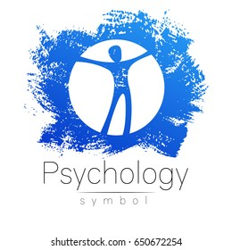 Modern man Sign of Psychology. Human in a circle. Creative style. Icon in vector. Design concept. Brand company. White color isolated on blue brush stroke background.Symbol for web, print card, flyer.