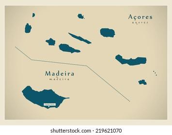 Modern Map - Acores & Madeira Ilha PT