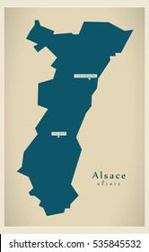 Modern Map - Alsace FR France