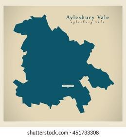 Modern Map - Aylesbury Vale district UK
