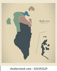 Modern Map - Bahrain with governorates colored political BH