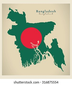 Modern Map - Bangladesh flag colored BD