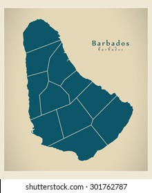 Modern Map - Barbados with parishes BB