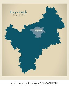 Modern Map - Bayreuth county of Bavaria DE