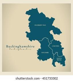 Modern Map - Buckinghamshire district labels UK