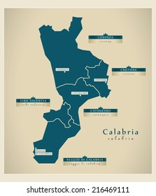 Modern map - Calabria IT