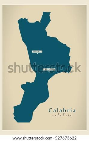 Modern Map Calabria Italy Stock Vector Royalty Free 527673622