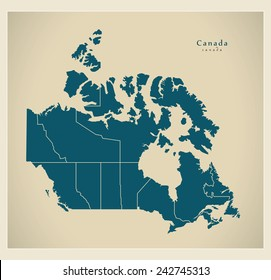 Modern Map - Canada with regions CA