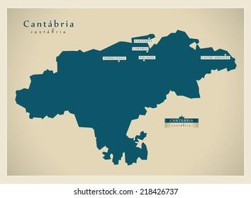 Modern map - Cantabria ES
