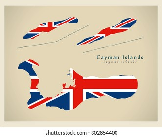 Modern Map - Cayman Islands flag colored KY