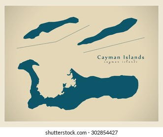 Modern Map - Cayman Islands KY