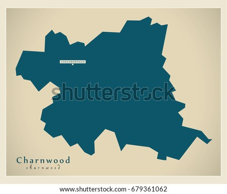 Leicestershire Uk Map.Modern Map Charnwood District Leicestershire England Stock Vector