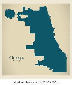Modern Map - Chicago city of the USA