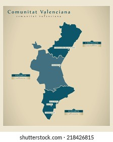 Modern map - Comunitat Valenciana ES